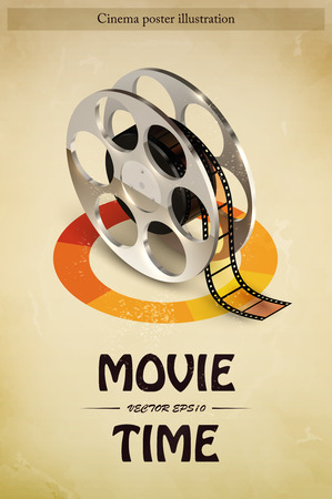 roll film: Cinema movie entertainment poster with realistic film reel vector illustration Illustration