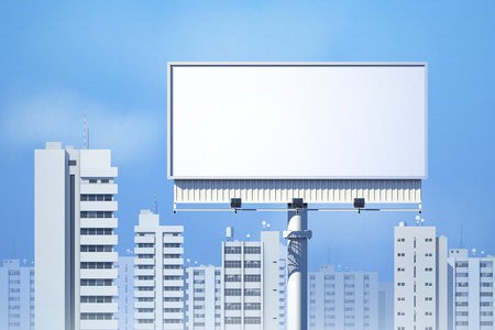 large house: Outdoor realistic 3d billboard on city skyline background vector illustration