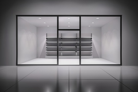 retail display: Realistic 3d store interior with empty shelves in spotlights inside background vector illustration