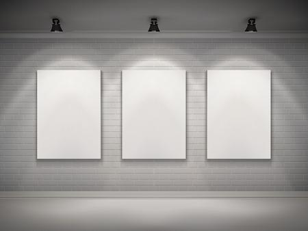 spotlight on wall: Gallery interior with blank placard set in spotlights background vector illustration Illustration