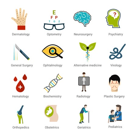 pediatrics: Medical specialties icons set with dermatology optometry neurosurgery psychiatry isolated vector illustration Illustration