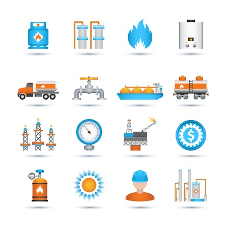 energy supply: Nature gas fuel and energy industry icons set isolated vector illustration Illustration