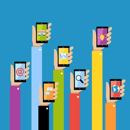 using smart phone: Collection of hands using mobile smartphone with business applications and social media content isolated vector illustration.