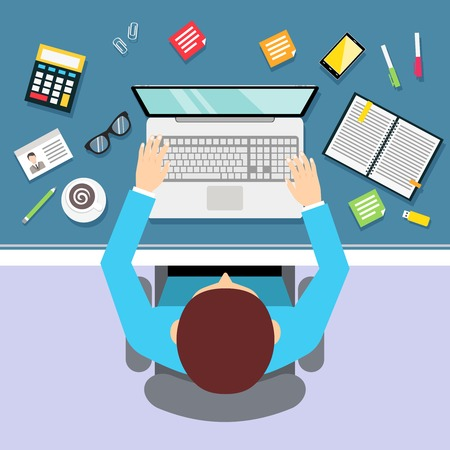 home office desk: Top view businessman workplace with male manager laptop and stationery vector illustration Illustration