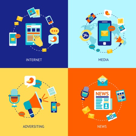 social communication: Media news social communication flat icons set with internet advertising isolated vector illustration