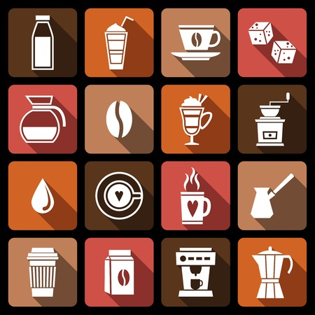 turk: Coffee white icons set with natural beans french press coffee-bulb isolated vector illustration Illustration