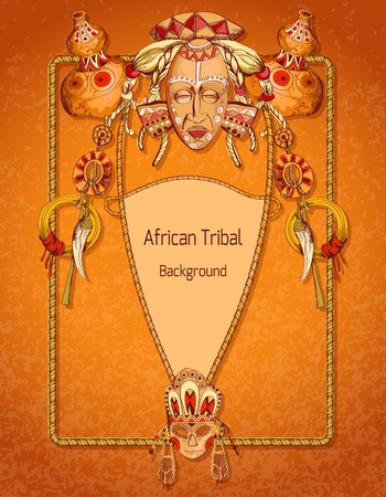 title hands: African sketch colored background with tribal mask amulets and religion symbols vector illustration.