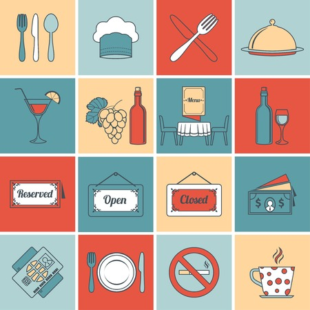 Restaurant food kitchen flat line icons set with open close signs isolated vector illustration Vector