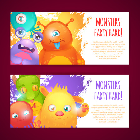 Cute cartoon monsters funny alien character party hard horizontal banners set isolated vector illustration Vector