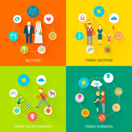 Family icons flat set with wedding vacation entertainment planning isolated vector illustration