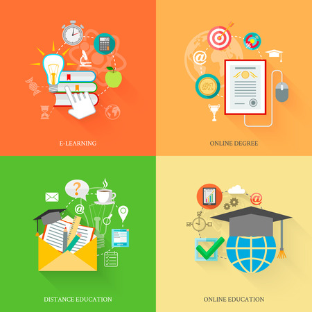research study: Online education icons flat set with e-learning distance degree isolated vector illustration