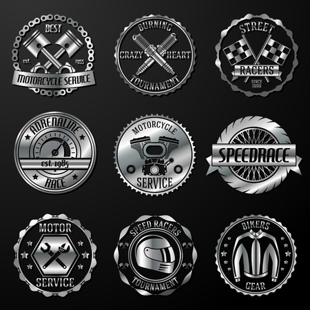 mechanics: Motorcycle racing tournament motor service emblems metallic set isolated vector illustration