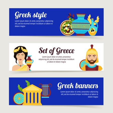Greece horizontal banner set with antique temple salad olive oil isolated vector illustration Illustration