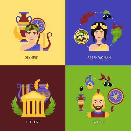 greece: Greece flat icons set with sports competition greek woman culture isolated vector illustration