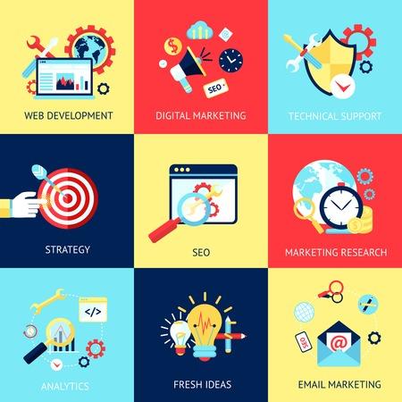 apoyo social: SEO concepto plana conjunto con el desarrollo web marketing digital apoyo técnico ilustración vectorial