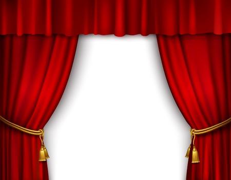 Red stadium geopend theater fluwelen gordijn met gouden textiel kwasten geïsoleerd vector illustratie