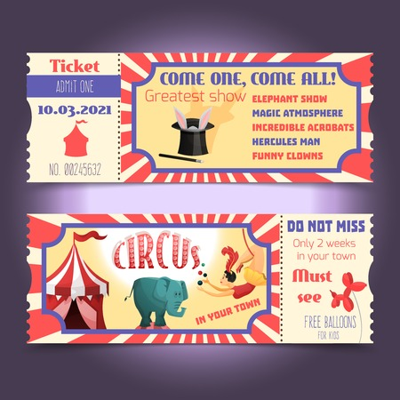 circus ticket: Circus retro tickets with animals acrobats magic hat isolated vector illustration