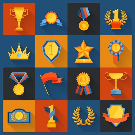 figurine: Award icons set flat of cup prize ribbon medal figurine isolated vector illustration Illustration