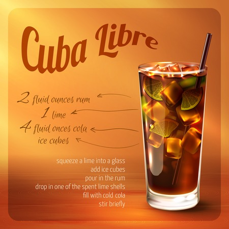 rum: Cuba libre cocktail recipe with drink in glass with drinking straw on brown background vector illustration