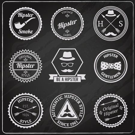 fashion glasses: Hipster vintage chalkboard labels set with smoking pipe hat moustache isolated vector illustration Illustration