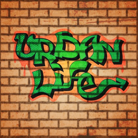 Graffiti concept with brick wall and urban life letters background vector illustration
