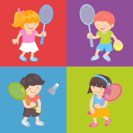 Boy and girl kids with sport equipment playing tennis and badminton flat set isolated vector illustration Vector