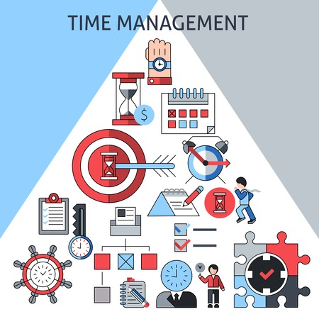 business planning: Time management concept with successful business planning working and leadership decorative icons in pyramid shape vector illustration Illustration