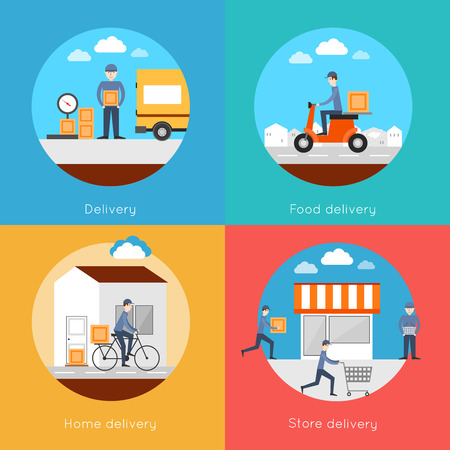 delivery man: Delivery icons flat set with food home store services isolated vector illustration