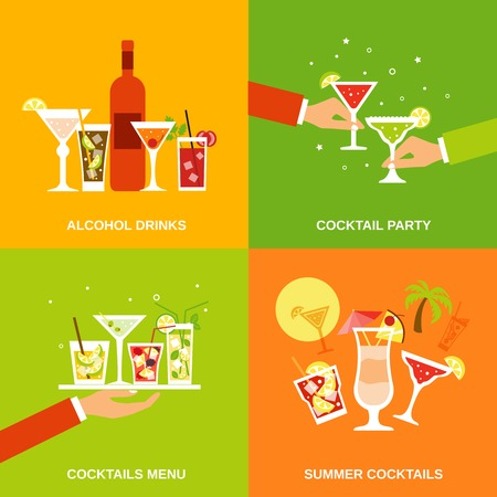 alcohol screwdriver: Alcohol cocktails icons flat set with drinks party menu summer isolated vector illustration