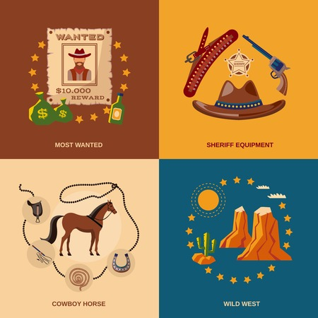 Wild west cowboy flat icons set with most wanted sheriff equipment horse isolated vector illustration