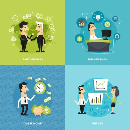 meeting: Office workers flat set with partnership businessman time is money report isolated vector illustration Illustration