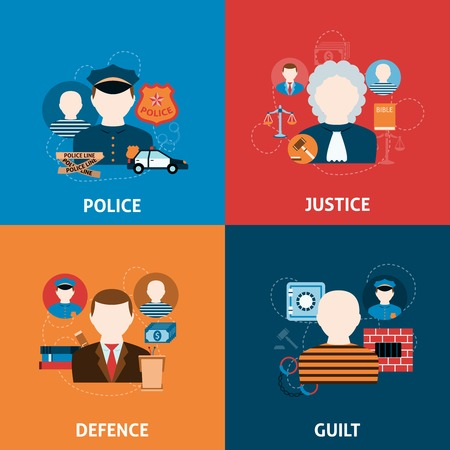 Corruption crime punishment and legal civil law defense justice officer four flat icons composition abstract vector illustration