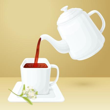 chinaware: Porcelain tea cup and pot with linden brunch vector illustration Illustration