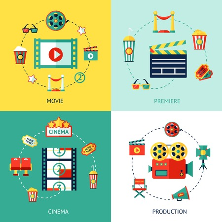 Cinema production flat design concepts set with movie premiere  icons isolated vector illustration Ilustração