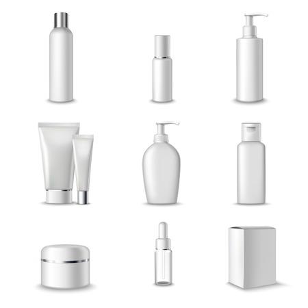 de higiene: Cosm�ticos Paquetes de Productos de Belleza Set 3d Aislados Ilustraci�n vectorial