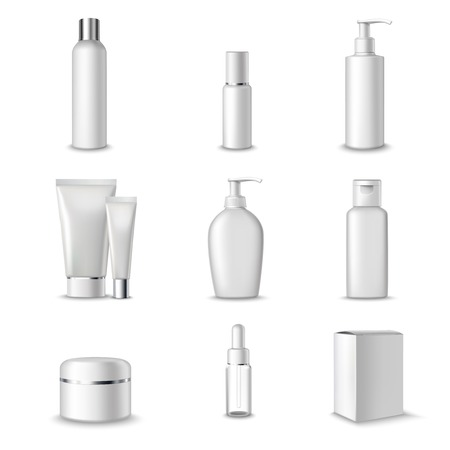 cosmetics collection: Cosmetics Packages Beauty Products Set Realistic 3d Isolated Vector Illustration Illustration