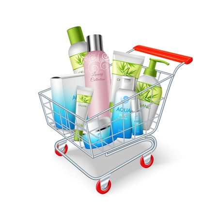 Supermarket shopping cart with cosmetic and hygiene products vector illustration Illustration