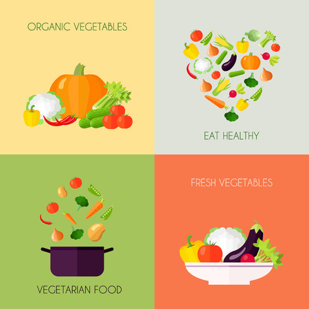 Vegetables flat icons set with organic vegetarian fresh food healthy eating isolated vector illustration