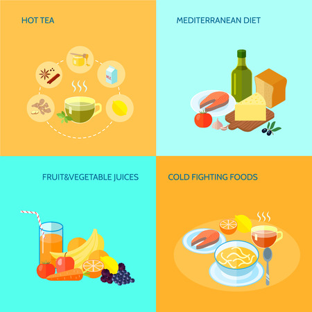 mediterranean diet: Healthy food flat icons set with hot tea mediterranean diet fruit and vegetable juices cold fighting food isolated vector illustration Illustration