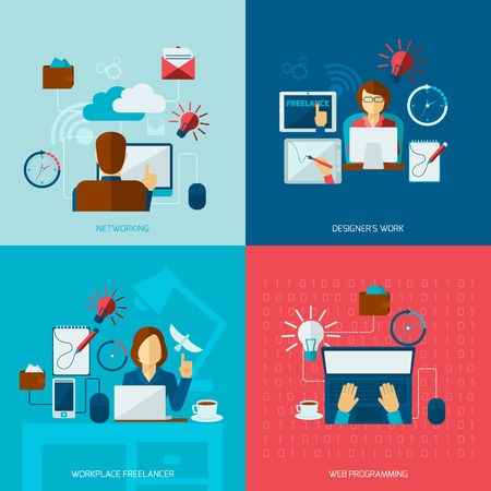 Freelance flat set with networking designer work web programming workplace isolated vector illustration Illustration