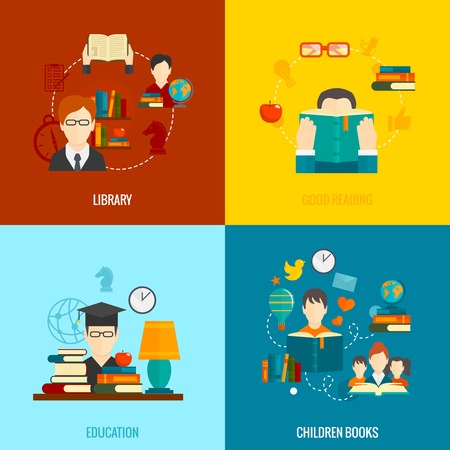 books isolated: Reading flat icons set with library good education children books isolated vector illustration
