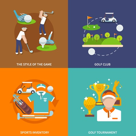 inventory: Golf club flat icons set with style of game sport inventory tournament isolated vector illustration