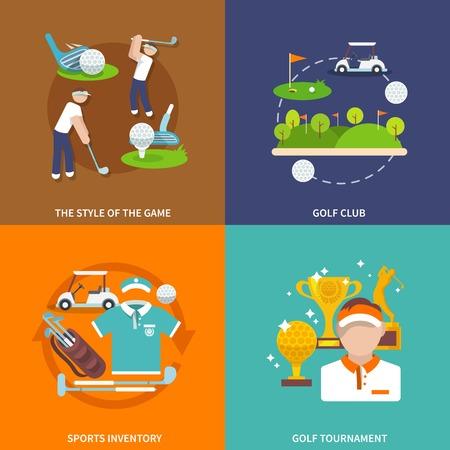 ref: Iconos planos del club de golf en conjunto con el estilo de juego del deporte inventario torneo aislado ilustraci�n vectorial