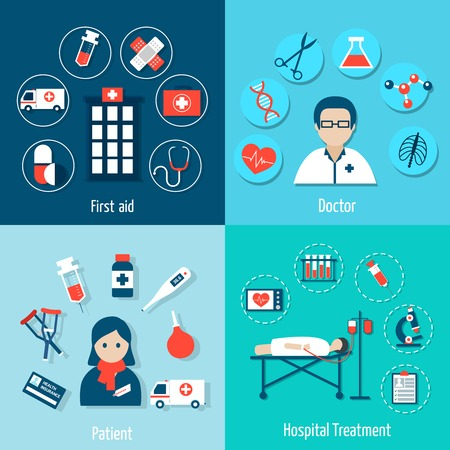 Conjunto plana Médico con el primer médico ayuda tratamiento hospitalario del paciente ilustración vectorial