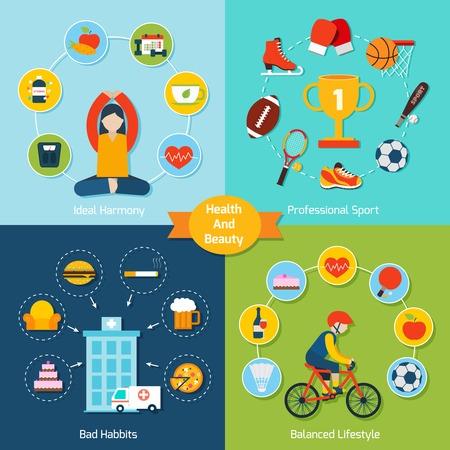 malos habitos: Salud y belleza engastado con el deporte profesional armonía ideales malos hábitos de estilo de vida equilibrada iconos aislados plana ilustración vectorial