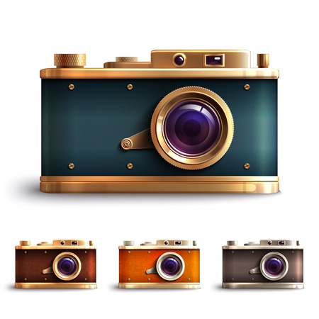 focus on shadow: Retro style vintage photo camera decorative icons set isolated vector illustration