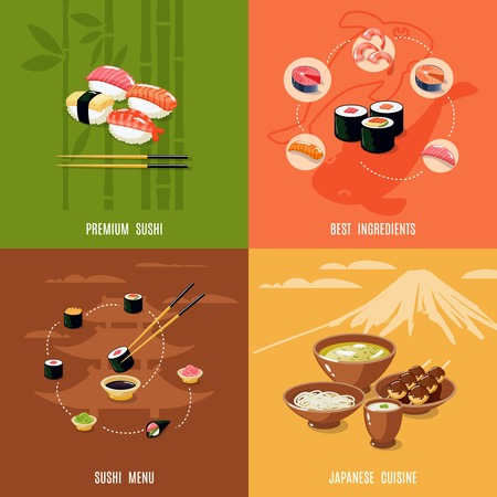sushi set: Asian food design concept with premium sushi best ingredients menu japanese cuisine isolated vector illustration Illustration