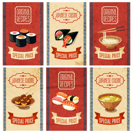 japanese background: Asian food original recipes japanese cuisine special price banners set isolated vector illustration