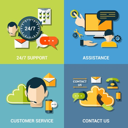 contact information: Contact us global concept flat icons of support assistance 24h customer service composition abstract isolated vector illustration Illustration