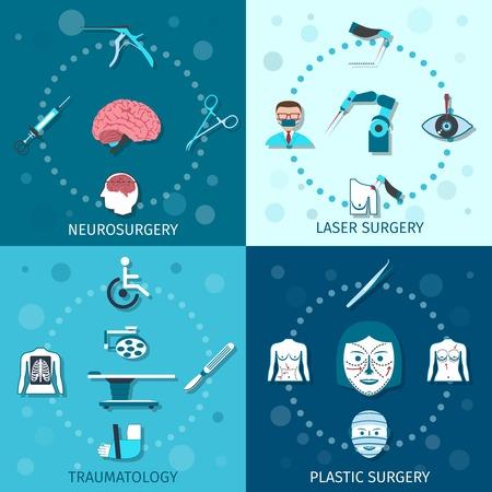 neurosurgery: Medical surgery flat icons set with laser plastic neurosurgery traumatology isolated vector illustration Illustration